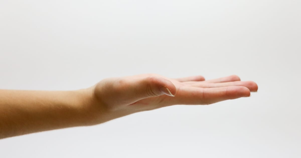 open hand asking for a raise