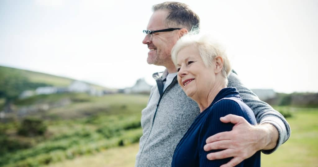happy retired couple who used a retirement planning calculator