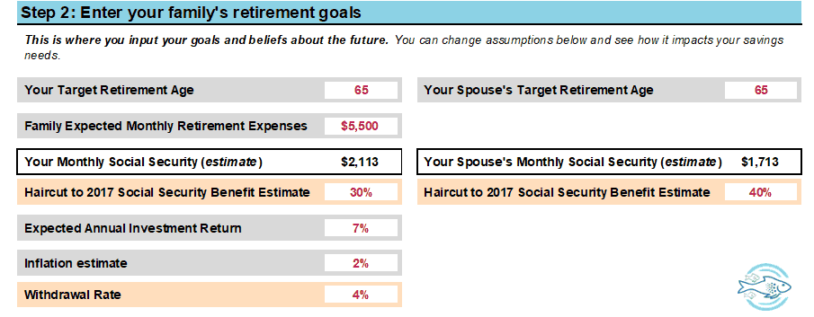 Screenshot of part 1 Mama Fish Target Retirement Savings Rate Calculator