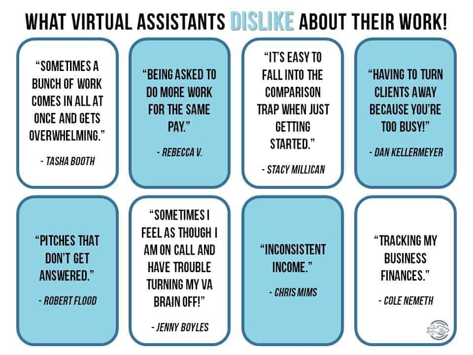 Quotes from virtual assistants on what they dislike about their jobs