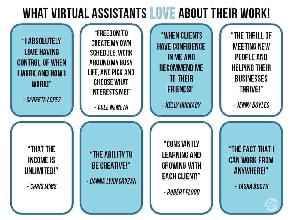 Quotes from virtual assistants on what they love about their jobs