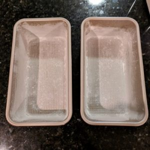 Greased and floured bread pans