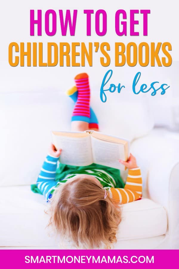 how to get children's books for less pin with little girl laying down reading a book