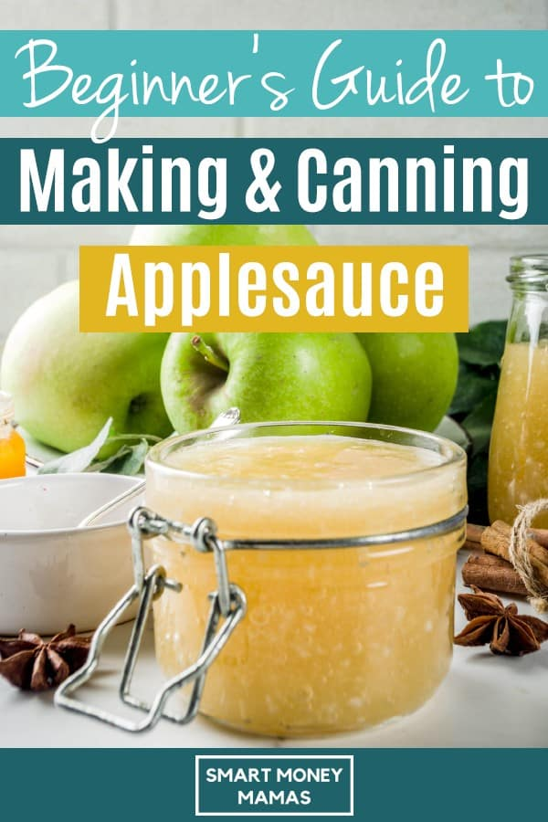 Learn how to make and can applesauce with this step-by-step guide. Making delicious applesauce requires basically zero cooking skills or added tools.  #smartmoneymamas #homemade #applesauce #canning #foodpreservation #printables