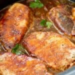 Crock Pot BBQ Apple and Onion Pork Chops