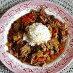 Slow Cooker Fiesta Beef with rice