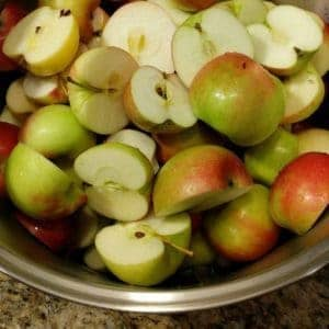 Apples chopped and ready to make applesauce