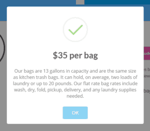Laundry Care per bag cost estimate for Pitman, NJ