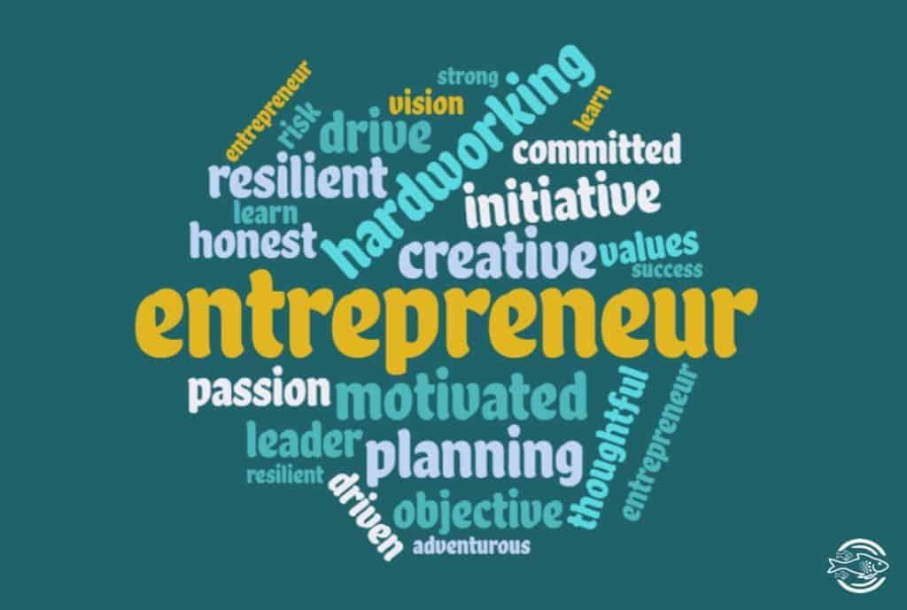 Entrepreneur character traits word cloud