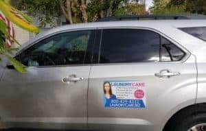 Laundry Care Car with services sticker