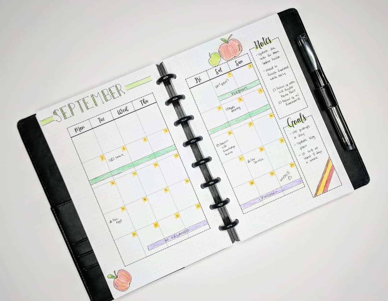 Monthly layout bullet journal