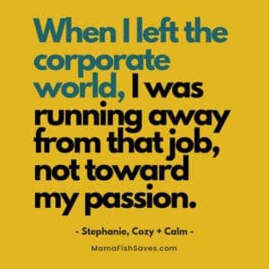 When I left the corporate world, I was running away from that job, not toward my passion.