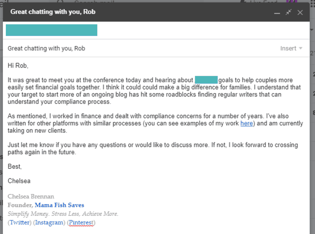 Warm follow up email example