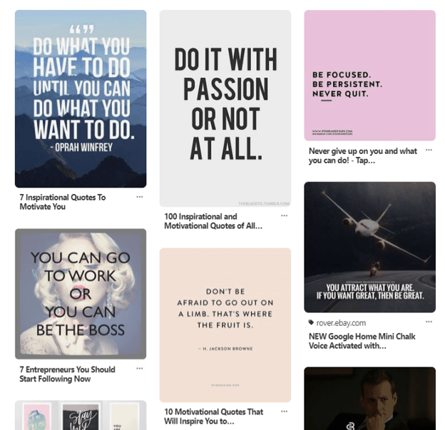 Sample business inspiration quotes for a vision board