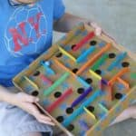 DIY cardboard marble labyrinth for kids