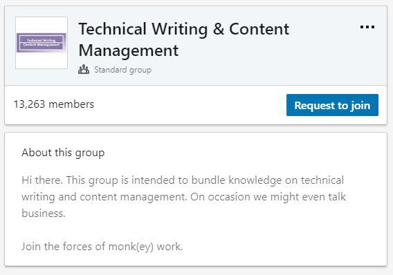 Technical writing networking group on LinkedIn