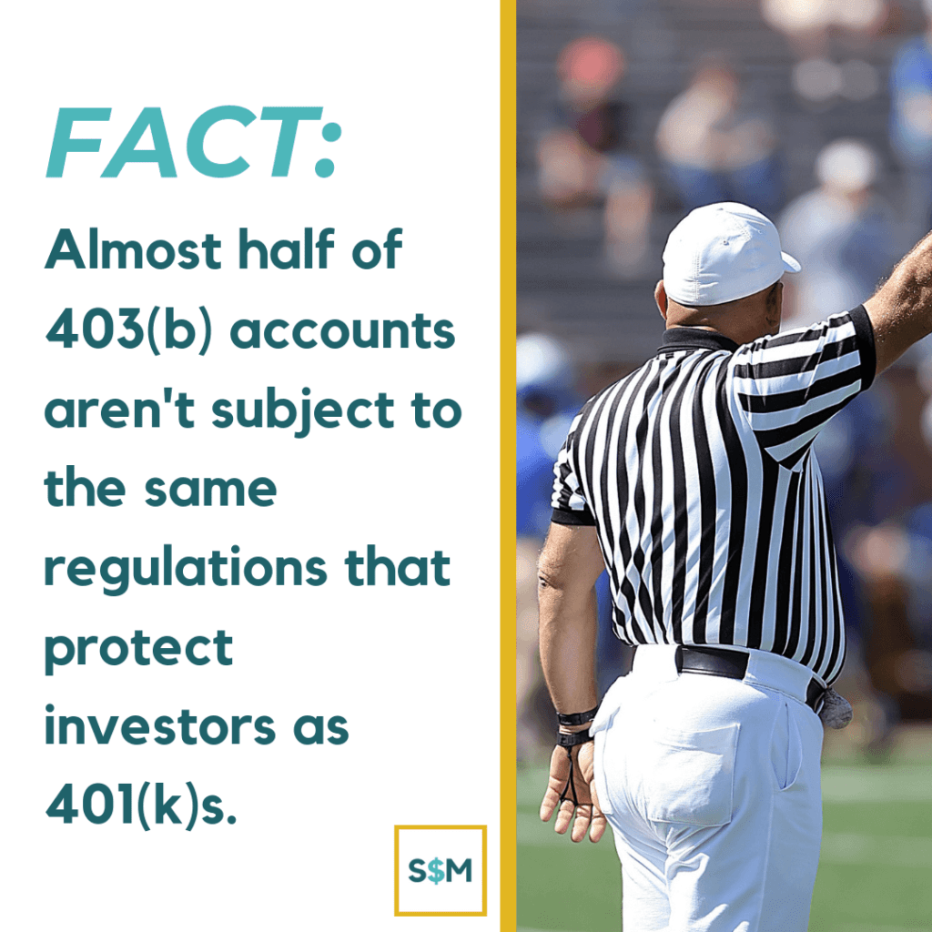 Almost half of all 403(b) accounts aren't subject to the same regulations that product investors as 401(k)s