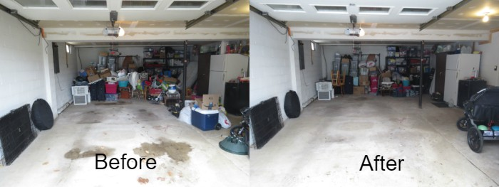 Before and after of konmari'ed garage