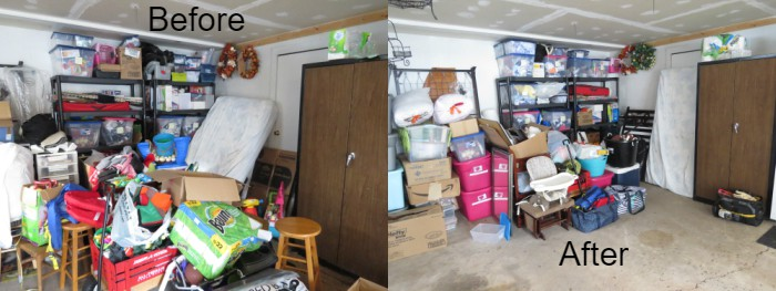 Before and after of garage after using Marie Kondo method