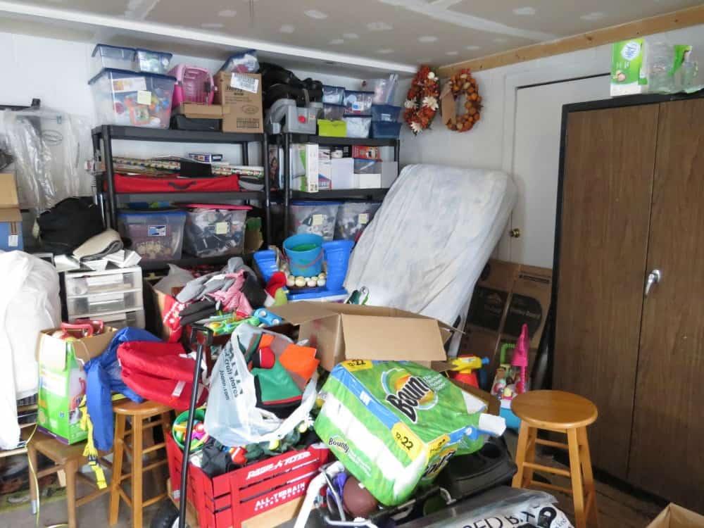Garage before using the KonMari method