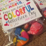 small bag with lollipop and melted crayon heart with a Valentine's Day sentiment for kids