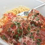 Cheesy, Garlicky, Spaghetti & Meatballs
