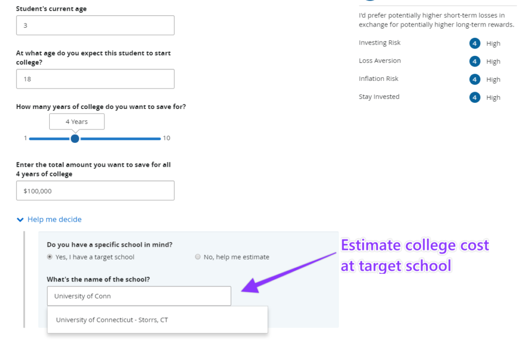 How to set college savings targets in LINK by Prudential