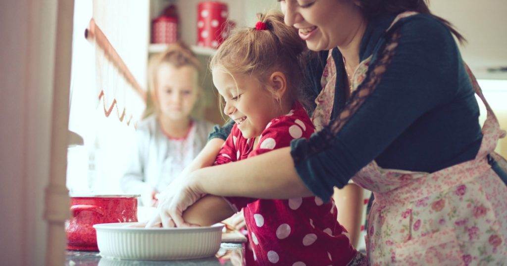 Mother cooking with children - make ahead meals