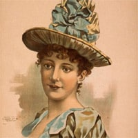 Image of Mary Kies wearing one of her patented straw hats