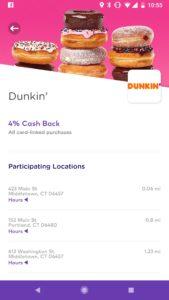Dosh App Dunkin Donuts Cashback Screenshot