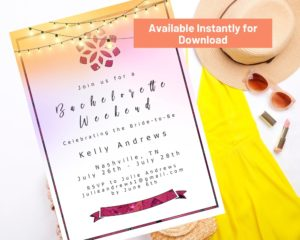 Sample Etsy printable product, bachelorette party invitations