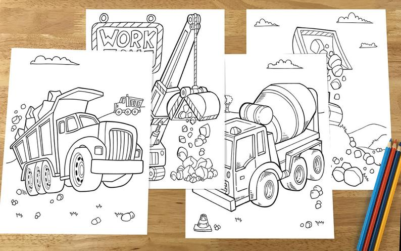 Construction truck coloring pages for sale as digital download on Etsy
