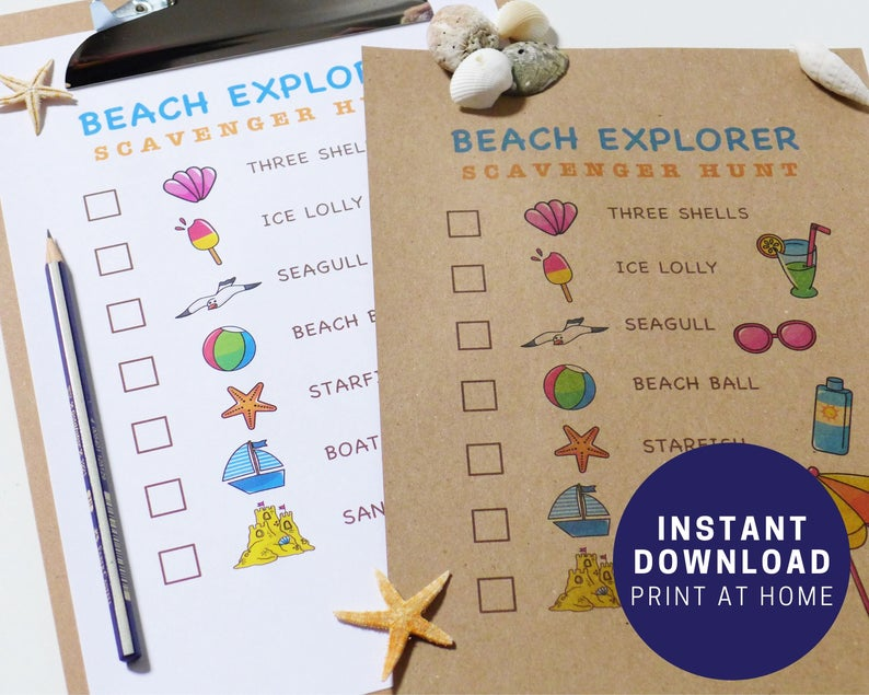 Printable beach explorer scavenger hunt from Etsy