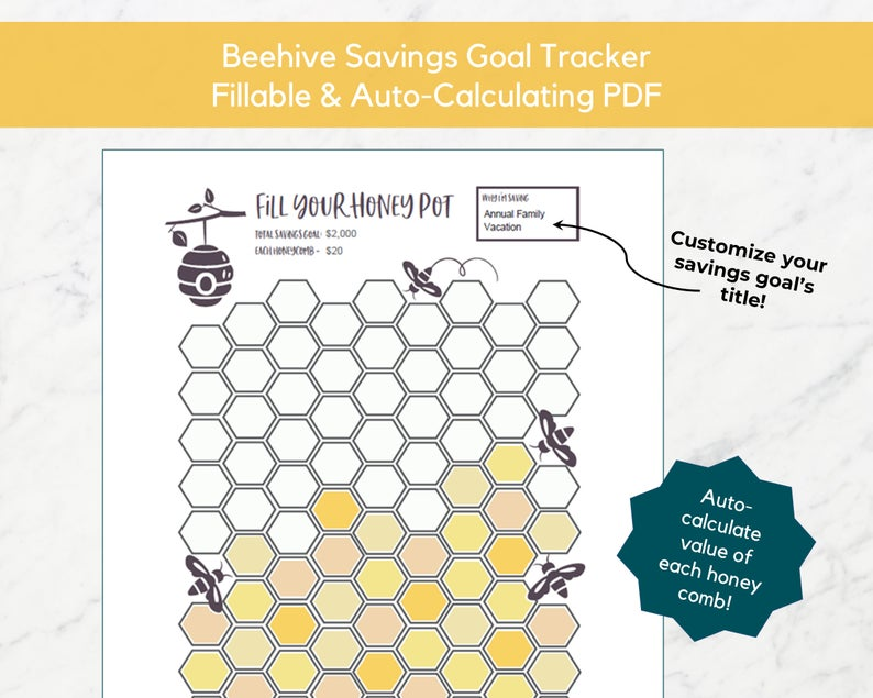 Beehive printable savings chart from Smart Money Mamas Etsy Shop