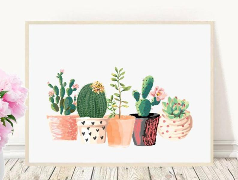 Printable cactus art print from Etsy