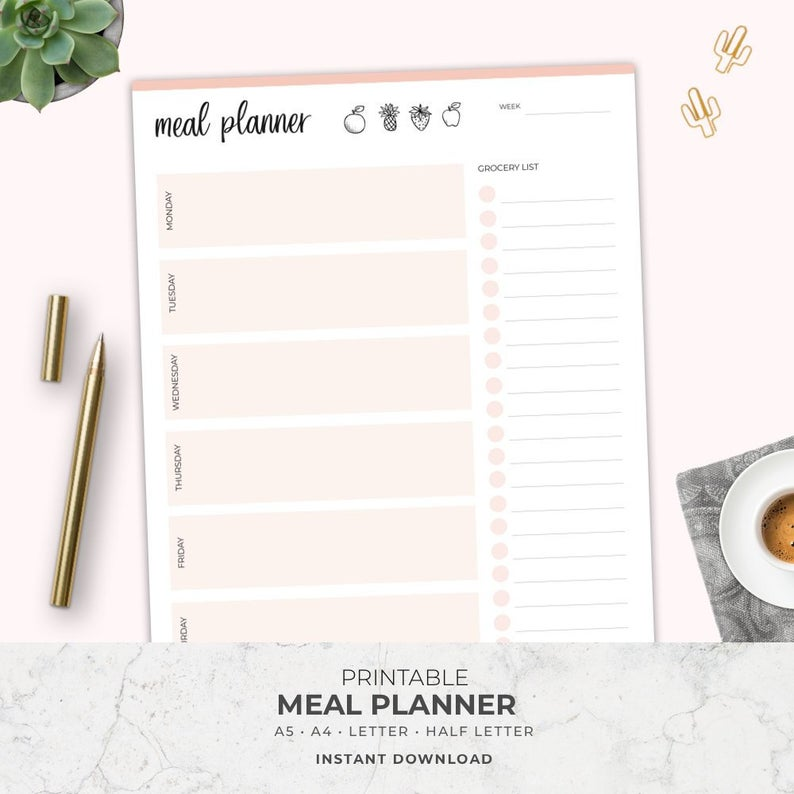 Printable weekly meal planner from Etsy