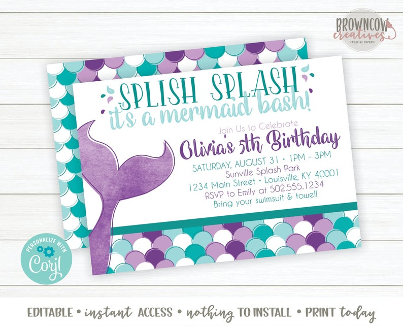 Mermaid birthday party printable invitation from Etsy