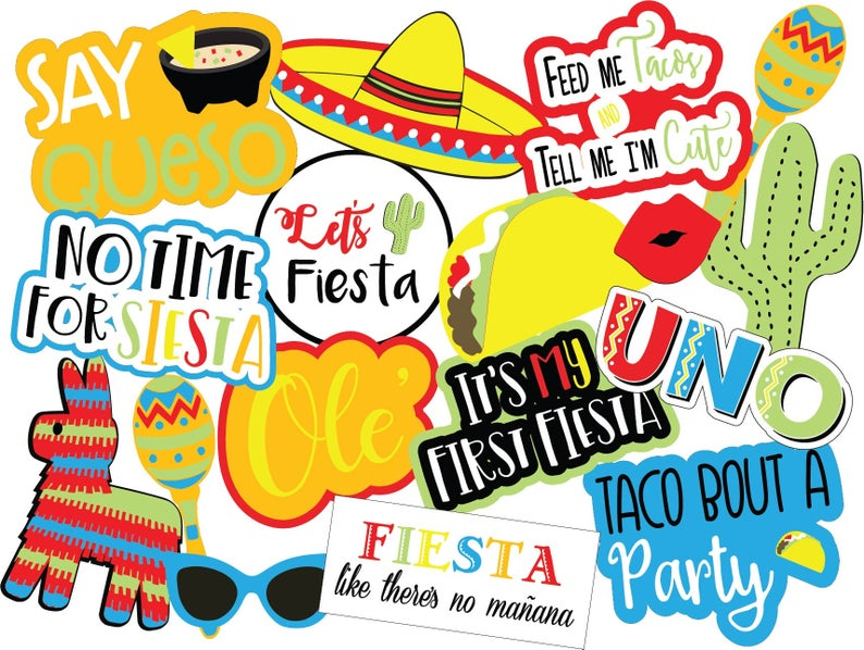 Fiesta printable photo booth props on Etsy