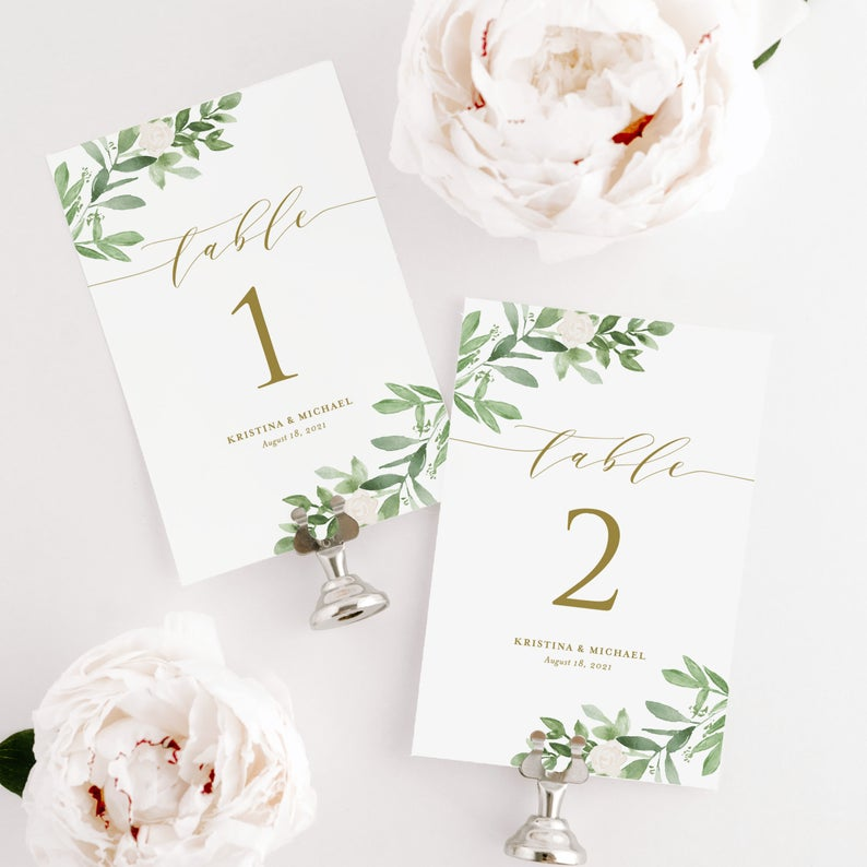 Printable wedding table numbers from Etsy