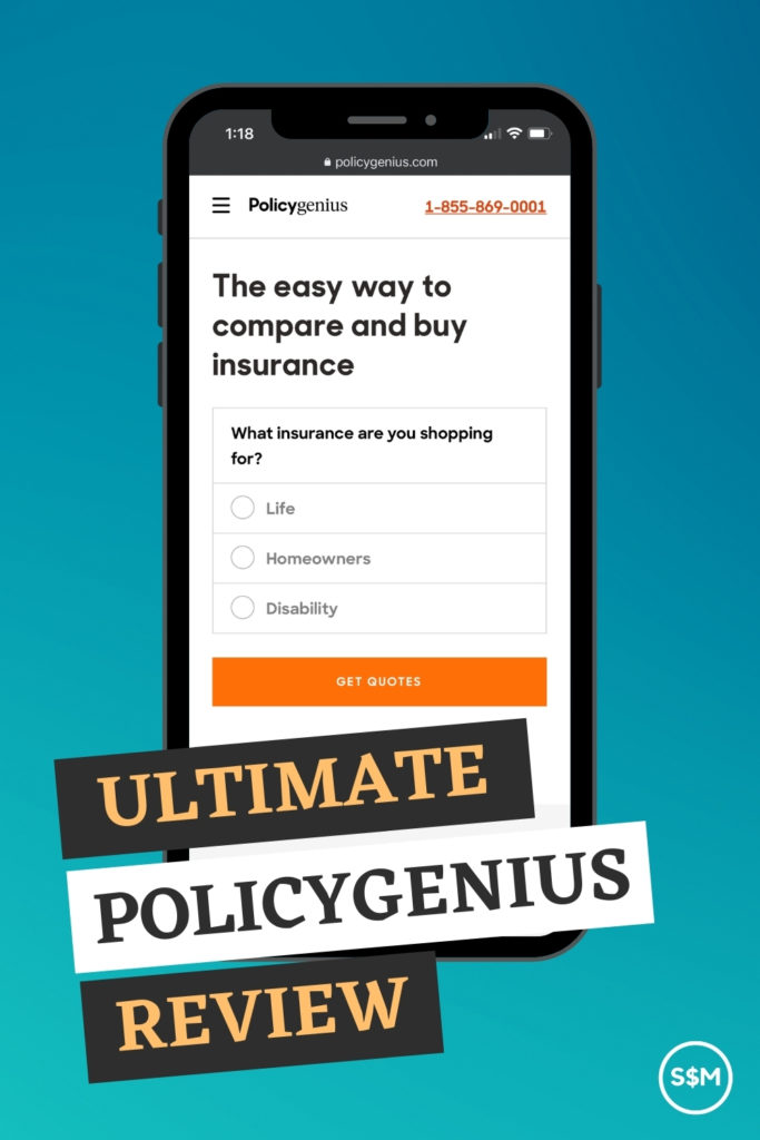 Ultimate Policygenius Review - Mobile phone with homepage of Policygenius on the screen