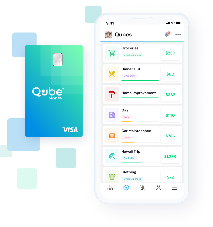 Qube Money debit card and phone app screen preview, showing sample Qubes