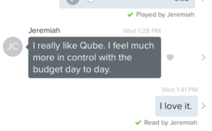 """Qube Money review - text from husband, """"I really like Qube. I feel much more in control with the budget day to day."""""""