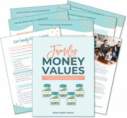 Family Money Values Workbook - preview of workbook with cover and pages spread behind it