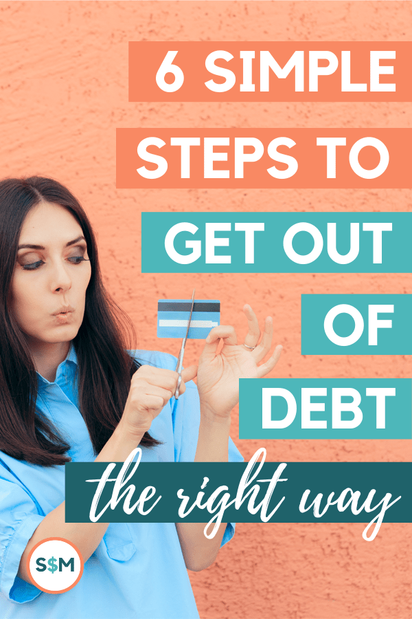 6 Simple Steps to Get Out of Debt the Right Way - woman cutting credit card with scissors