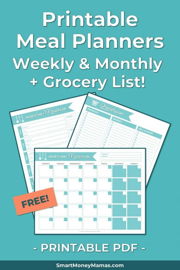 Printable Meal Planners - Weekly & Monthly + Grocery List