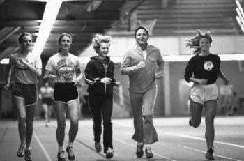Senator Birch Bayh exercises with Title IX athletes at Purdue University, ca. 1970s.